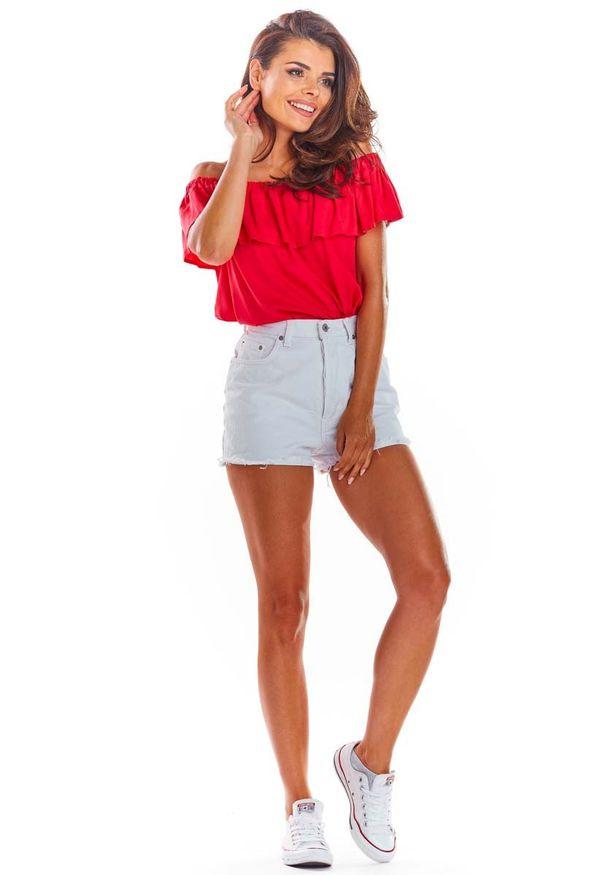 Awama - Fuksja Letnia Bluzka z Hiszpańskim Dekoltem. Kolor: różowy. Materiał: wiskoza, elastan. Sezon: lato