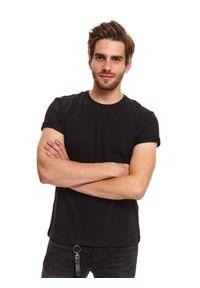 Czarny t-shirt TOP SECRET z nadrukiem, krótki