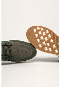 Zielone sneakersy Wrangler na sznurówki, z okrągłym noskiem, z cholewką