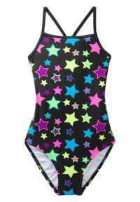 Kostium kąpielowy dziewczęcy bonprix czarno-różowy. Kolor: czarny