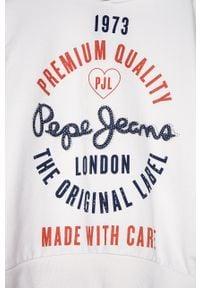 Biała bluza Pepe Jeans z kapturem, z nadrukiem