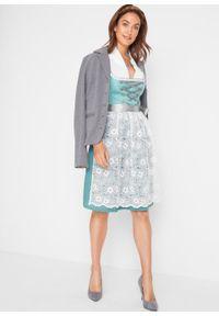 Sukienka w ludowym stylu z koronkowym fartuchem bonprix niebieski mineralny wzorzysty. Kolor: niebieski. Materiał: koronka