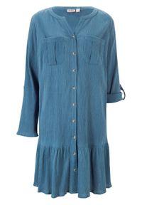 Sukienka kreszowana bonprix niebieski dżins. Kolor: niebieski