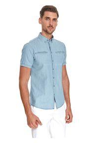 TOP SECRET - Denimowa koszula z krótkim rękawem, shaped fit. Kolor: niebieski. Materiał: len, dzianina. Długość rękawa: krótki rękaw. Długość: krótkie. Sezon: lato. Styl: klasyczny, elegancki
