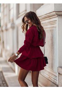 Czerwona bluzka z długim rękawem IVON krótka