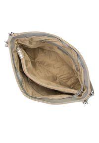 Beżowa torebka worek Wittchen skórzana, casualowa, z breloczkiem
