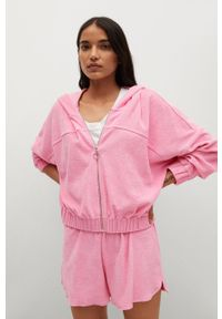 mango - Mango - Bluza bawełniana Rosa. Typ kołnierza: kaptur. Kolor: różowy. Materiał: bawełna