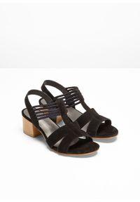 Czarne sandały bonprix na obcasie, na średnim obcasie