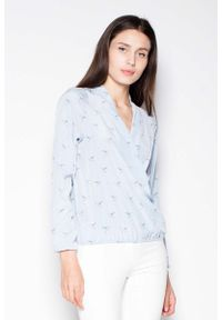 Venaton - Błękitna Koszula Wzorzysta z Kopertowym Dekoltem V. Kolor: niebieski. Materiał: poliester