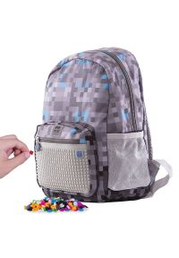 Pixie Crew kreatywny plecak dziecięcy Minecraft, szaro - niebieski. Kolor: szary. Wzór: paski