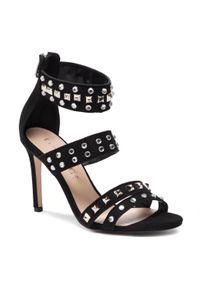Czarne sandały Eva Minge eleganckie, z aplikacjami