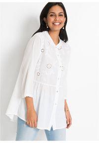 Biała bluzka bonprix w ażurowe wzory, długa