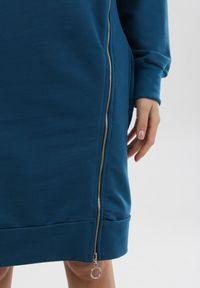 Born2be - Niebieska Sukienka Leucomene. Kolor: niebieski. Materiał: dzianina. Długość rękawa: długi rękaw. Wzór: jednolity. Długość: mini