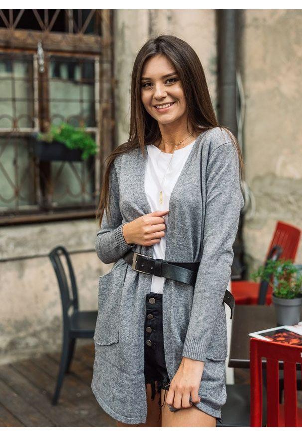 Szary sweter Fanaberia.com z klasycznym kołnierzykiem, długi, klasyczny