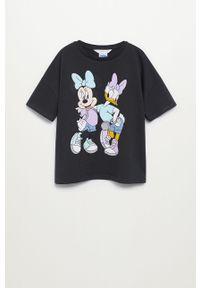 Szara bluzka z krótkim rękawem Mango Kids casualowa, krótka, na co dzień