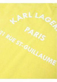 Żółta sukienka Karl Lagerfeld z dekoltem karo, na co dzień