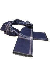 Modini - Granatowo-szary szalik męski R34. Kolor: niebieski, wielokolorowy, szary. Materiał: wiskoza