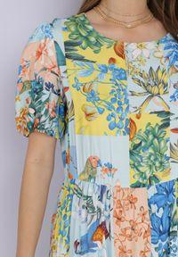 Born2be - Niebieska Sukienka Laomemoni. Okazja: na co dzień. Kolor: niebieski. Materiał: wiskoza, materiał. Długość rękawa: krótki rękaw. Wzór: aplikacja, kolorowy. Typ sukienki: proste. Styl: casual. Długość: maxi #6