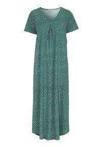 Cellbes Długa koszula nocna zamglona zieleń w kropki female zielony/ze wzorem 46/48. Kolor: zielony. Materiał: bawełna. Długość: długie. Wzór: kropki