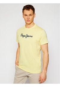 Pepe Jeans T-Shirt Eggo PM500465 Żółty Regular Fit. Kolor: żółty