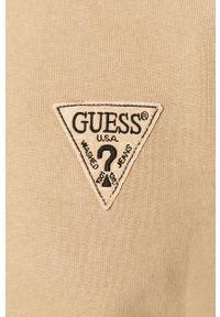 Beżowa bluza nierozpinana Guess z aplikacjami, na co dzień, casualowa