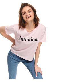 Różowy t-shirt TOP SECRET z aplikacjami, na lato, z krótkim rękawem, wakacyjny