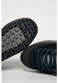 Niebieskie sneakersy Napapijri z okrągłym noskiem, z cholewką, na sznurówki