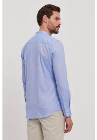 Selected - Koszula. Typ kołnierza: kołnierzyk stójkowy. Kolor: niebieski