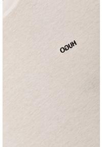 Hugo - T-shirt. Okazja: na co dzień. Kolor: biały. Materiał: dzianina. Wzór: gładki. Styl: casual