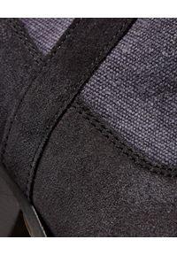 ISABEL MARANT - Kowbojki Demar Faded Black. Zapięcie: bez zapięcia. Kolor: czarny. Materiał: bawełna, zamsz. Szerokość cholewki: normalna. Wzór: aplikacja. Obcas: na obcasie. Wysokość obcasa: średni