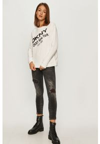 Czarna bluza DKNY z aplikacjami, długa