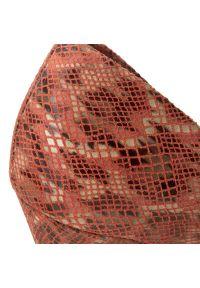 Czerwone półbuty Baldaccini z cholewką, na szpilce, z motywem zwierzęcym, na średnim obcasie