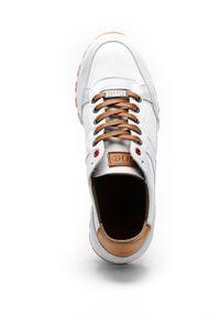 GOE - Buty skórzane. Nosek buta: okrągły. Zapięcie: sznurówki. Kolor: biały. Materiał: skóra