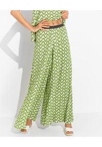 MALIPARMI - Zielone spodnie kuloty. Kolor: zielony. Materiał: elastan, wiskoza, tkanina, materiał. Długość: długie