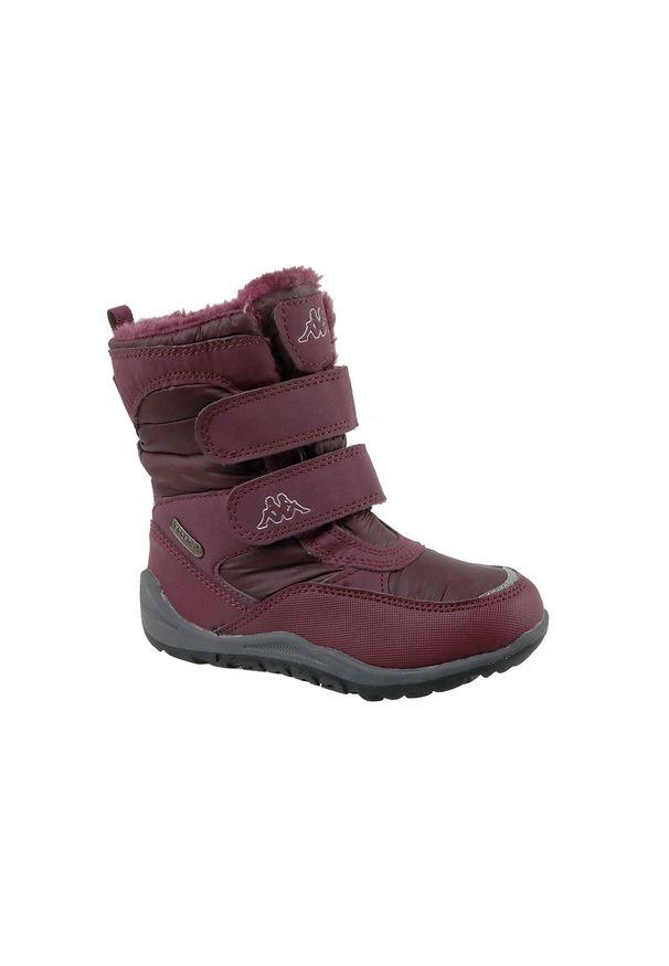 Czerwone buty trekkingowe Kappa na zimę, z cholewką, w kolorowe wzory