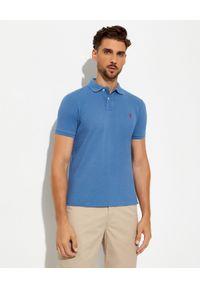 Ralph Lauren - RALPH LAUREN - Niebieska koszulka polo Custom Fit. Typ kołnierza: polo. Kolor: niebieski. Materiał: bawełna, prążkowany. Długość: długie. Wzór: haft