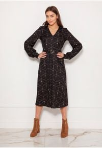 e-margeritka - Sukienka midi elegancka z bufiastymi rękawami - 36. Okazja: do pracy. Materiał: poliester, materiał. Typ sukienki: proste, rozkloszowane. Styl: elegancki. Długość: midi