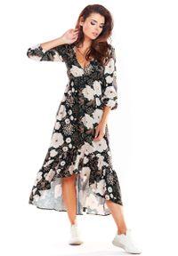 Awama - Brązowa Asymetryczna Sukienka Midi z Florystycznym Motywem. Kolor: brązowy. Materiał: poliester, elastan. Wzór: kwiaty. Typ sukienki: asymetryczne. Długość: midi