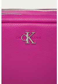 Różowa listonoszka Calvin Klein Jeans gładkie, skórzana