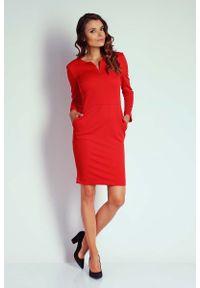 Nommo - Dopasowana Sukienka z Suwakiem przy Dekolcie - Czerwona. Kolor: czerwony. Materiał: wiskoza, poliester. Wzór: kwiaty