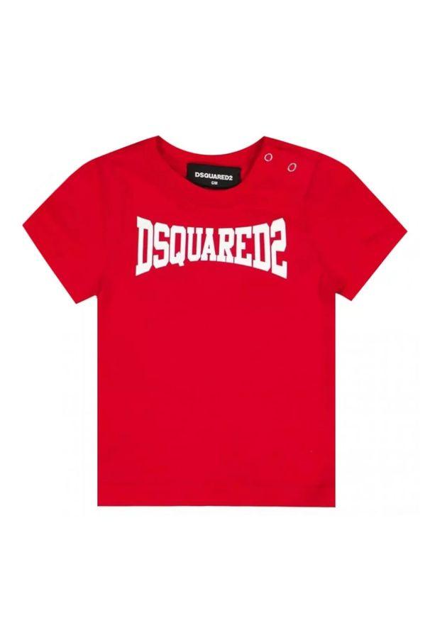 DSQUARED2 KIDS - Bawełniany t-shirt z nadrukiem logo 0-3 lata. Kolor: czerwony. Materiał: bawełna. Wzór: nadruk. Sezon: lato. Styl: klasyczny