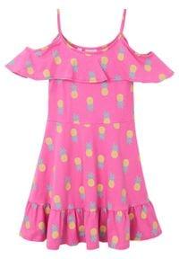 Sukienka dziewczęca z dżerseju bonprix jasny fuksja wzorzysty. Kolor: różowy. Materiał: jersey