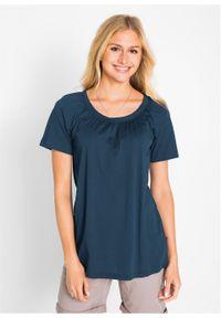 Shirt bawełniany z elastycznym dekoltem, krótki rękaw bonprix ciemnoniebieski. Kolor: niebieski. Materiał: bawełna. Długość rękawa: krótki rękaw. Długość: krótkie