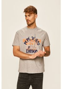 Szary t-shirt Pepe Jeans z nadrukiem, casualowy