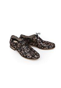 Złote półbuty Zapato na spotkanie biznesowe, z cholewką, wąskie, w kolorowe wzory
