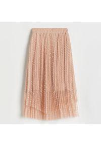 Reserved - Rozkloszowana spódnica midi - Różowy. Kolor: różowy