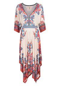 Beżowa sukienka bonprix boho, z nadrukiem