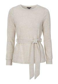 Beżowy sweter Happy Holly z długim rękawem, melanż, długi