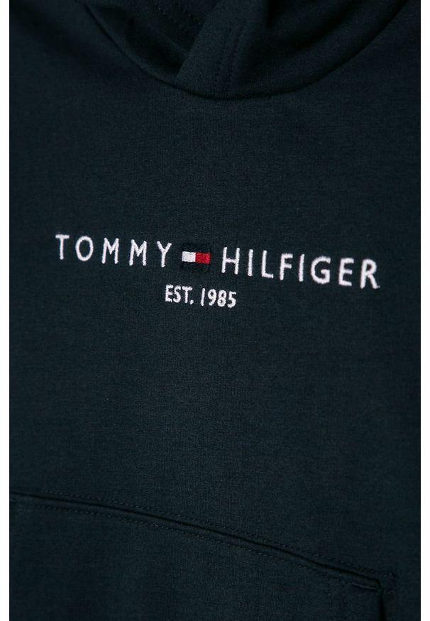 Niebieska bluza TOMMY HILFIGER z aplikacjami, na co dzień, casualowa, z kapturem