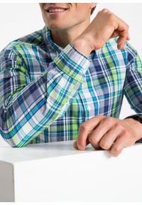 Koszula z długim rękawem bonprix zielono-ciemnoniebieski w kratę. Kolor: zielony. Długość rękawa: długi rękaw. Długość: długie